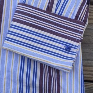 572c76b474dafa Versa Shirts - Versa Striped Button Front Shirt with French Cuffs
